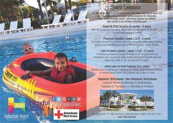 At BF James Park & Pool we offer swim lessons for every age! Our American Red Cross certified instructors make learning to swim fun! We have swimming and water safety programs for everyone, from infants through adults. Swimming lessons are offered year round in our climate controlled pool. Residents: $30/session   Non-residents: $45/session. Lessons offered on Mondays & Wednesdays, Tuesdays & Thursdays, or Saturdays & Sundays.Call 954-457-1321 for more info!